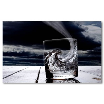 Αφίσα (ποτήτι, αφηρημένο, κύματα, μαύρο, λευκό, άσπρο)